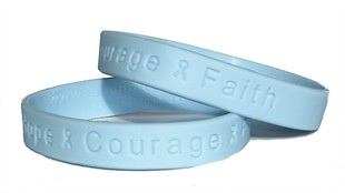 """Hope Courage Faith"" Light Blue Rubber Bracelet Wristband - Adult 8"""