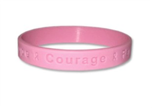 &quot;Hope Courage Faith&quot; Pink Rubber Bracelet Wristband - Adult 8&quot;
