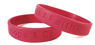 &quot;Hope Courage Faith&quot; Red Rubber Bracelet Wristband - Large 8&quot;