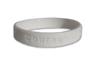 """Hope Courage Faith""  White Rubber Bracelet Wristband - Youth 7"""