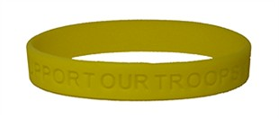 """SUPPORT OUR TROOPS"" Rubber Bracelet Wristband - Yellow - Adult 8"""