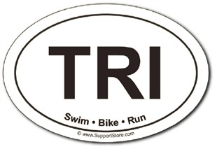 Triathlon Swim Bike Run oval car magnet