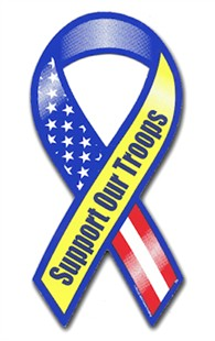 Red-White-Blue-Yellow Support Our Troops Mini Magnet