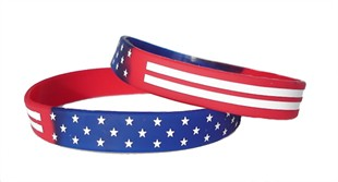 Stars and Stripes American Flag Rubber Bracelet Wristband - Adult 8""