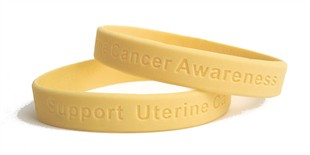 Support Uterine Cancer Awareness Rubber Wristband - Adult 8""