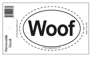 &quot;Woof&quot; Bumper Sticker Decal - Oval