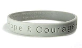 """Hope Courage Faith""  Grey Rubber Bracelet Wristband - Adult 8"""