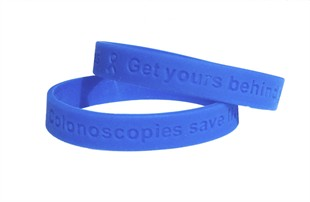 &quot;Colonoscopies save lives - get yours behind you&quot; wristband - Adult 8&quot;