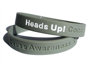 Heads Up! Concussion Cause Awareness Rubber Wristband - Adult 8""