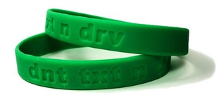 "Don't Text and Drive  ""dnt txt n drv""  Bracelet Wristband - Adult 8"""