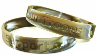 &quot;Support our Troops&quot; Military Match Rubber Bracelet Wristband - Camouflage - Youth 7&quot;