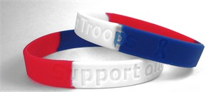 &quot;Support our Troops&quot; Red, White & Blue Rubber Wristband  Adult 8&quot;