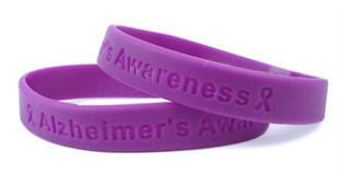 """Alzheimer's Awareness""  Purple Rubber Bracelet Wristband - Youth 7"""