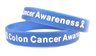 """Colon Cancer Awareness"" Blue Wristband White Lettering - Youth 7"""