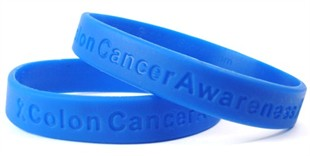 """Colon Cancer Awareness"" Blue Rubber Bracelet Wristband Adult 8"""