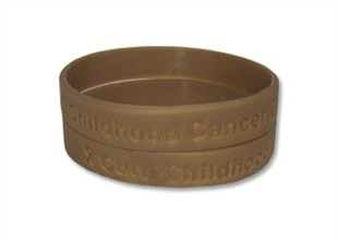 """Cure Childhood Cancer"" Gold Rubber Bracelet Wristband Adult 8"""