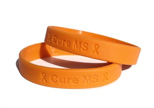 Cure MS Orange Rubber Bracelet Wristband - Adult 8&quot;
