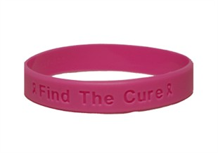 """Find the Cure"" Hot Pink Rubber Bracelet Wristband - Adult 8"""