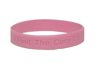 &quot;Find the Cure&quot; Pink Rubber Bracelet Wristband - Adult 8&quot;