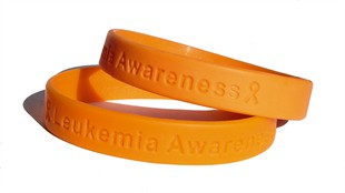 &quot;Leukemia Awareness&quot; Orange Rubber Bracelet Wristband - Adult 8&quot;