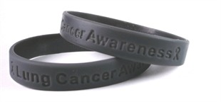 """Lung Cancer Awareness"" Dark Gray Rubber Bracelet Wristband - Adult 8"""