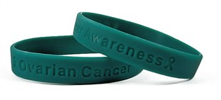 &quot;Ovarian Cancer Awareness&quot; Teal Rubber Bracelet Wristband - Adult 8&quot;