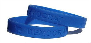 &quot;Democrat&quot; Blue Rubber Bracelet Wristband Adult 8&quot;