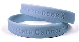 &quot;Prostate Cancer Awareness&quot; Light Blue Rubber Bracelet Wristband - Adult 8&quot;