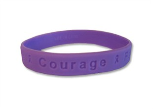 """Hope Courage Faith"" Purple Rubber Bracelet Wristband - Adult 8"""