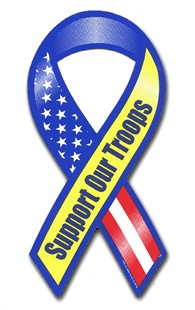 RWB Support Our Troops Ribbon Magnet